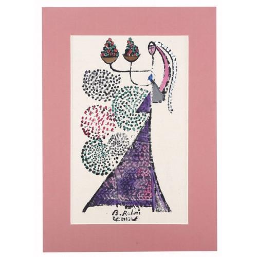 ''Kazakh Bride with Mosaic'' Passepartout Block Printing