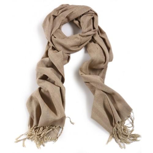 Silk and Linen Scarf - Beige