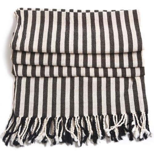 Turkish Hamam Towel / Pestemal with Black Stripes