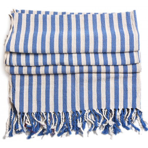 Turkish Hamam Towel / Pestemal with Blue Stripes