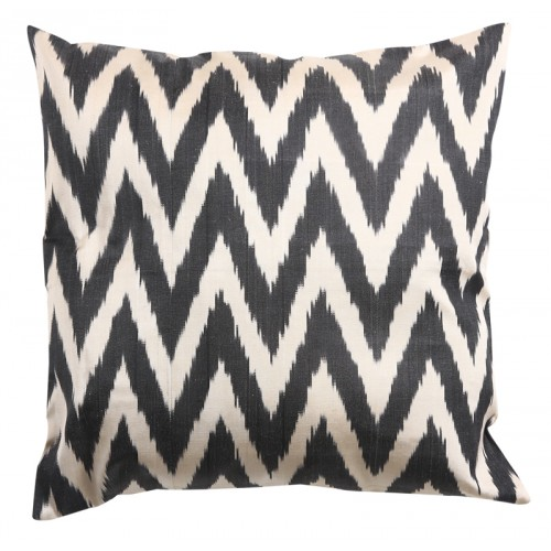 Silk Ikat Pillow Cover - Black