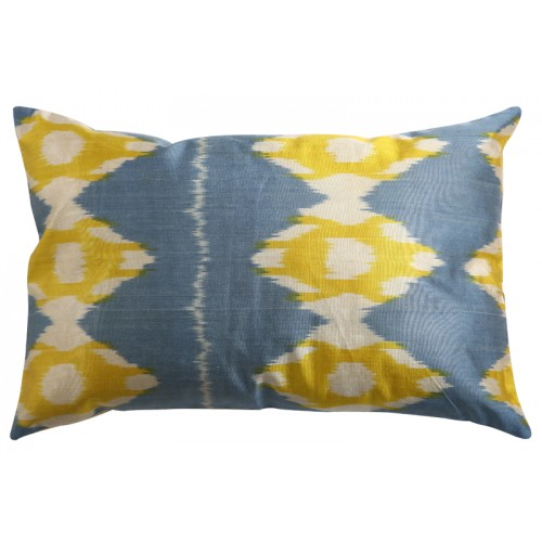 Silk Ikat Pillow Cover - Blue and Yellow
