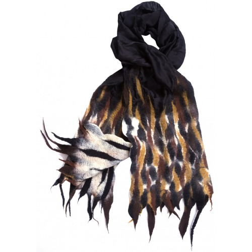 Black Silk Based Felt Scarf
