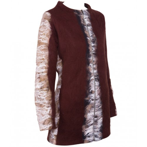Beige and Brown Felt Coat