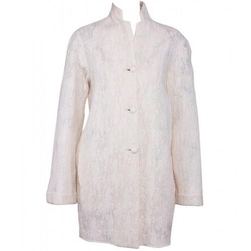 Cream Felt Coat with Lacework