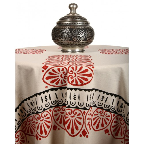 "Red and Black Table Cloth with ""Clove"" and ""Ottoman"" Patterns"
