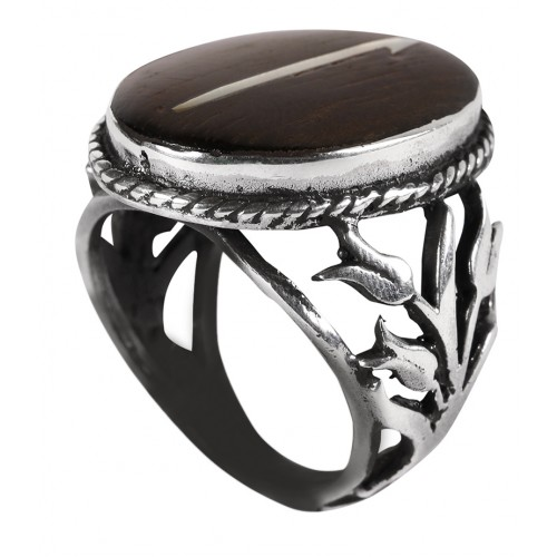 Ebony 'Elif' Silver Ring with Mother of Pearl Inlay