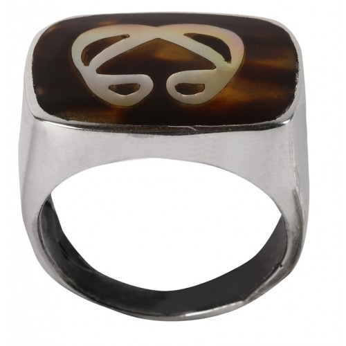 Double Vav Silver Ring With Mother of Pearl Inlay