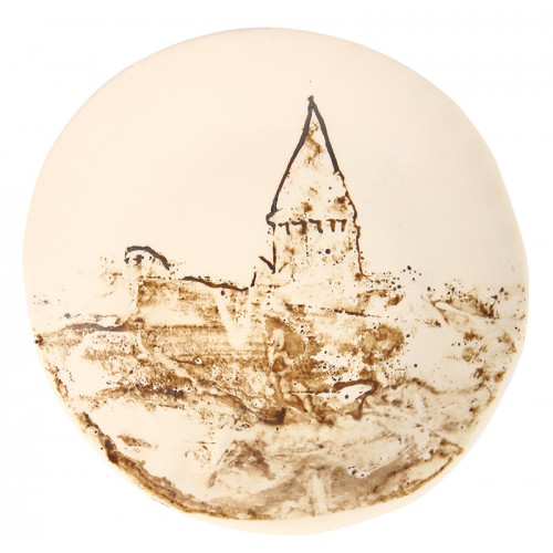Galata Tower Round Plate - Brown