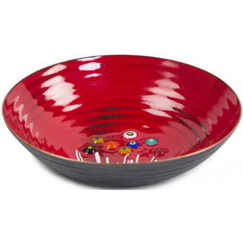 Evil Eye Red Enamel Pot