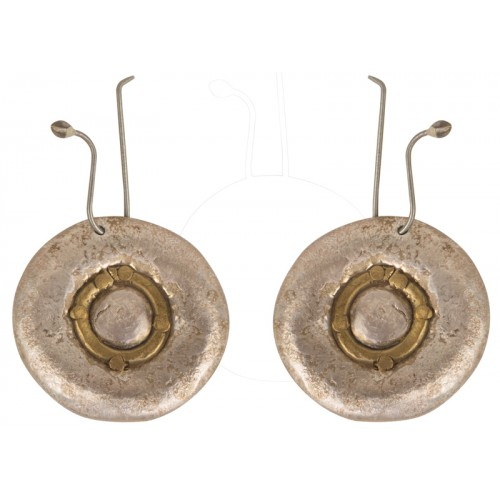 Round Silver Earrings with Brass