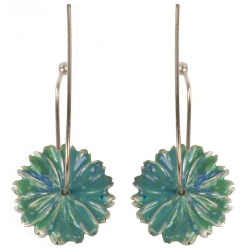Green Flower Enameled Silver Earrings