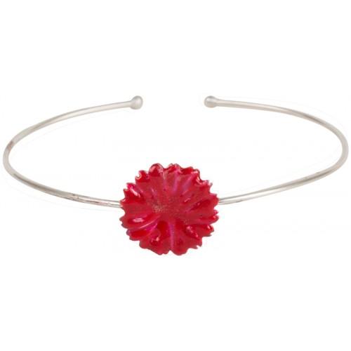 Red Flower Enameled Silver Bracelet