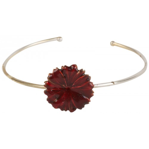 Bordeaux Enameled Flower Silver Bracelet