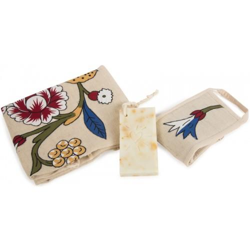 Tulip Ornamented Turkish Hamam Towel / Pestemal Set