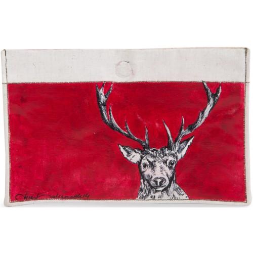 Deer Oil on Canvas Wallet - Red