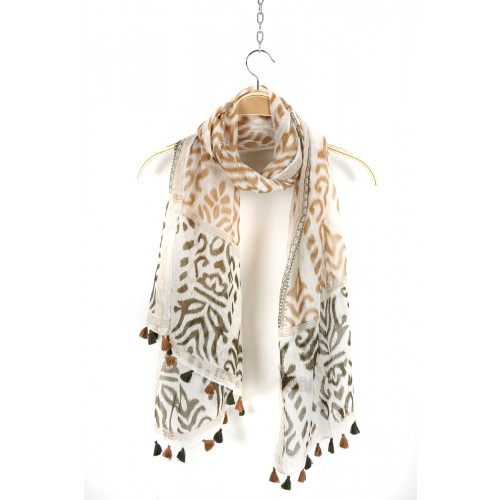 Beige and Brown Fringed Cotton Silk Wrap