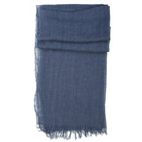 Blue Goat Wool and Silk Pashmina Scarf