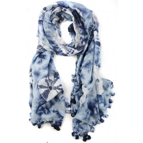 Dark Blue Batik Dyed Fringed Cotton Silk Wrap