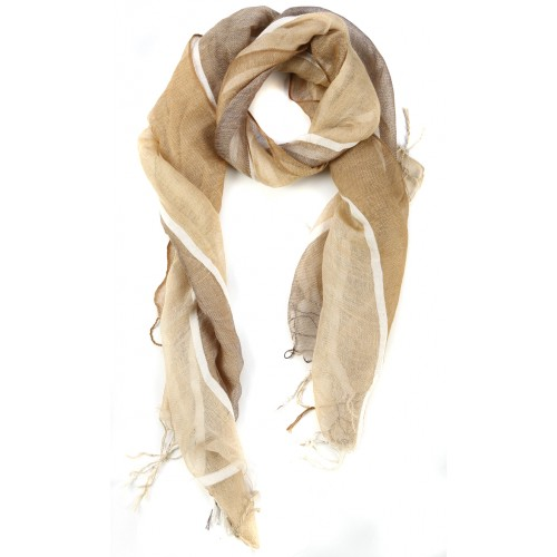 Striped Beige Raw Silk Fringed Scarf