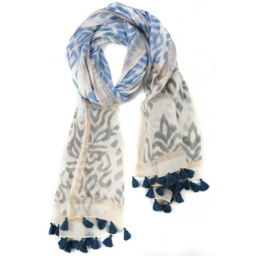Blue Grey Fringed Cotton Silk Wrap