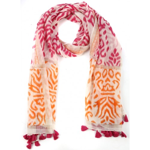 Pink, Orange Fringed Cotton Silk Wrap