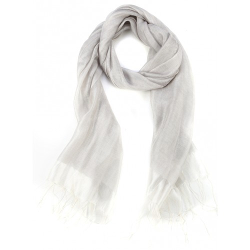 Light Grey Raw Silk Fringed Scarf