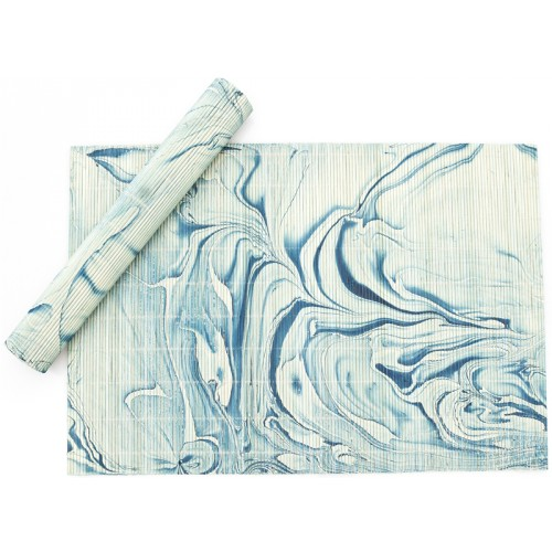 Table Mat Set - Blue Marbling Art