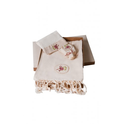 Turkish Hamam Towel / Pestemal Set - Rose Ornamented