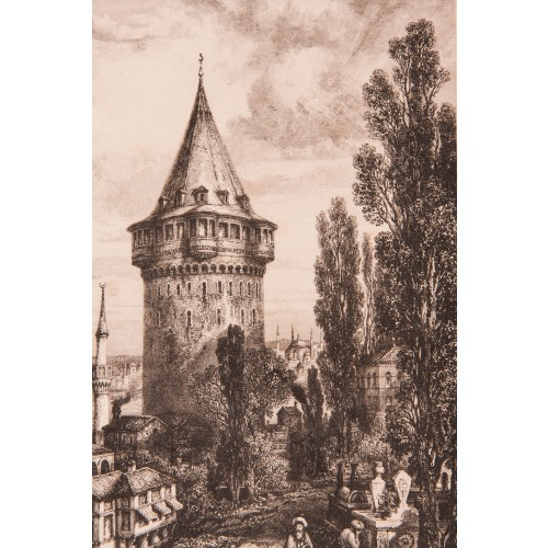 Galata Tower Engraving