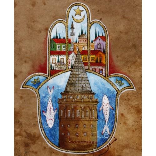 Galata Tower and Fatima's Hand (Hamsa) Ottoman Miniature