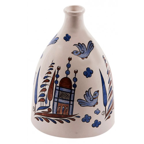 Ceramic Bottle with Bird Pattern