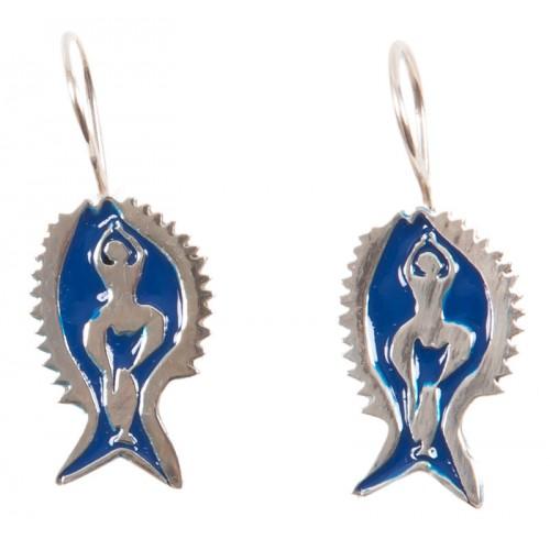 Bedri Rahmi Woman with Fish Earring - Dark Blue