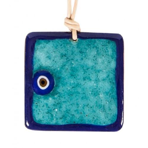 Dark Blue Evil Eye Enamel Necklace - 3