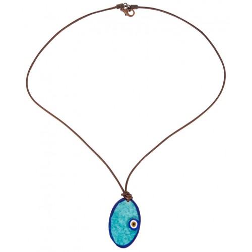 Dark Blue Evil Eye Enamel Necklace