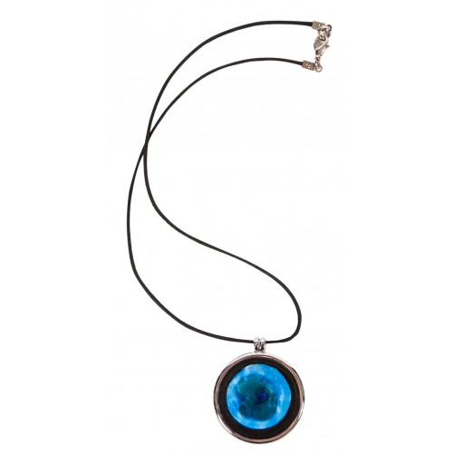 Blue Enamel Necklace with Metal