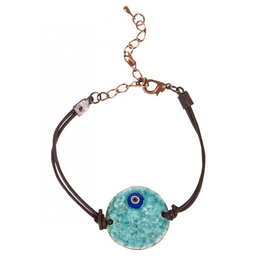 Blue Evil Eye Enamel Leather Cuff Bracelet