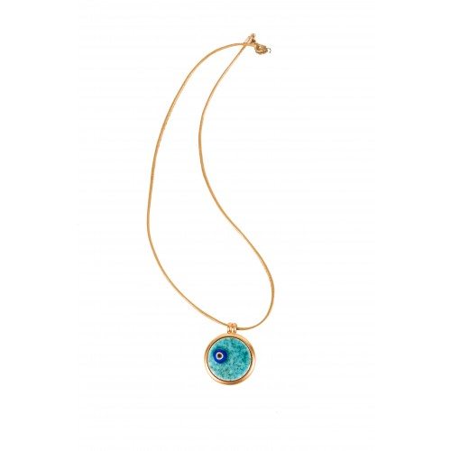 Evil Eye Enamel Necklace - yellow