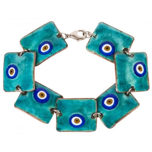 Turquoise Evil Eye Enamel Bracelet  - 1