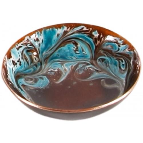 Bronze Blue Enamel Plate  - 3