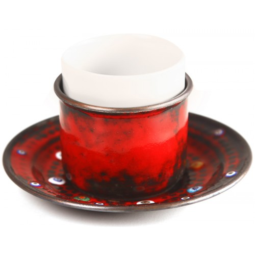 Copper Enameled Espresso Cup - Red