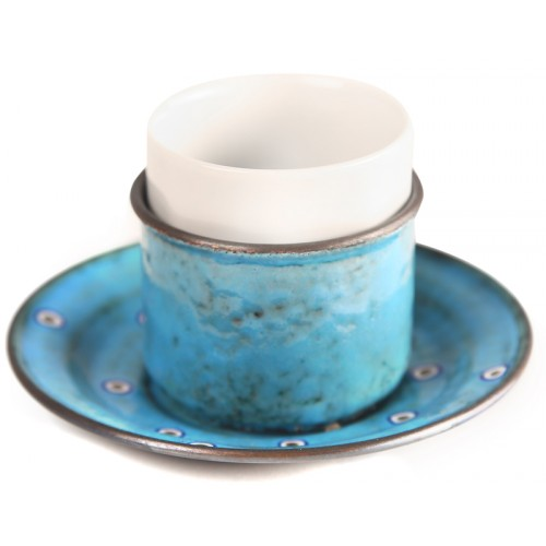 Copper Enameled Espresso Cup - Blue