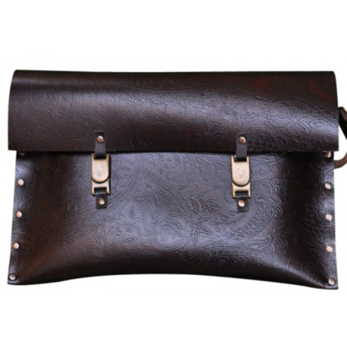 Leather Clutch - Brown Patterned