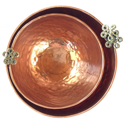 Copper Bowl with Flowers