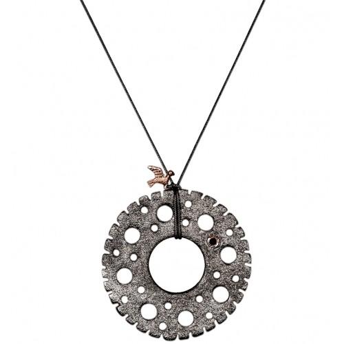 Black Rhodium Plated Silver Necklace with Black Diamond