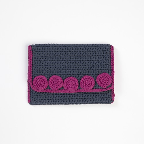 Ultramarine Knitted Clutch Bag with Fuchsia Motifs