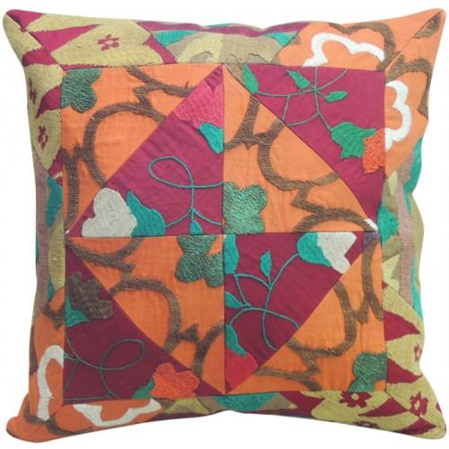 Suzani Orange and Pink Pillow Slip