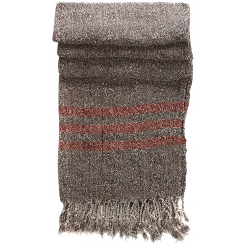 Grey Kirmen Silk Wrap with Red Stripe
