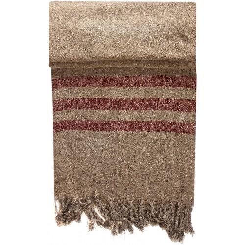 Beige Kirmen Silk Wrap with Red Stripe