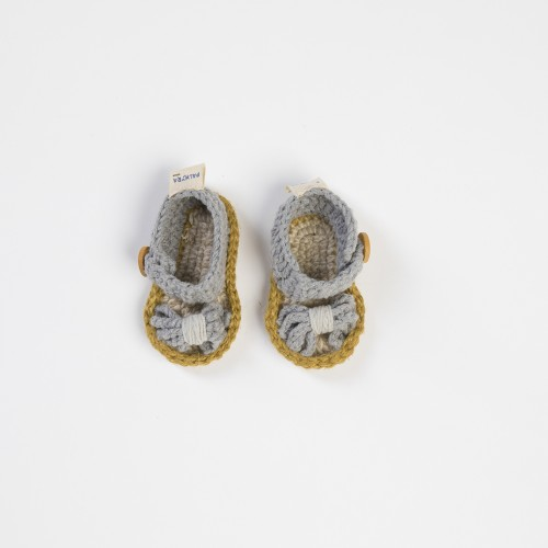 Grey Handwoven Baby Shoes